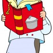 Stockvector : Chef reading cookery book
