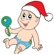 Christmas baby with rattle — Stock Vector