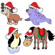 Stok Vektör: Christmas animals collection -