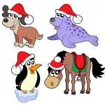 Christmas animals collection - — Stockvector