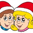 Vector de stock : Christmas boy and girl