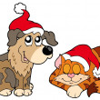 Royalty-Free Stock Vector Image: Christmas cat and dog