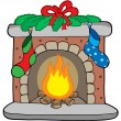 Stock Vector: Christmas fireplace with stockings