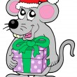 Christmas mouse with gift - Stock Vector