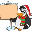 Christmas penguin with sign — Stock Vector