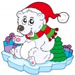 Christmas polar bear — Vector de stock