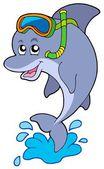 Dolphin snorkel diver — Stock Vector
