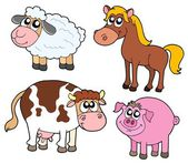 Farm animals collection — Vector de stock