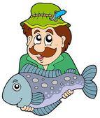 Fisherman holding big fish — Stock Vector
