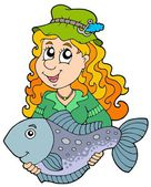 Fisherwoman holding big fish — Stock Vector
