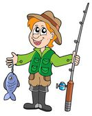 Fisherman with rod — Stock Vector