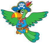Flying pirate parrot — Stock Vector