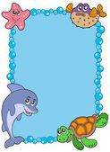 Frame with sea animals 1 — Stock Vector