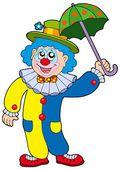 Funny clown holding umbrella — Stock Vector