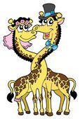 Giraffes wedding 2 vector illustration — Stock Vector