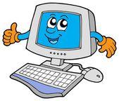 Happy computer — Stock Vector