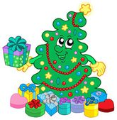 Happy Christmas tree with gifts — Stock Vector