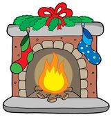 Christmas fireplace with stockings — Stock Vector