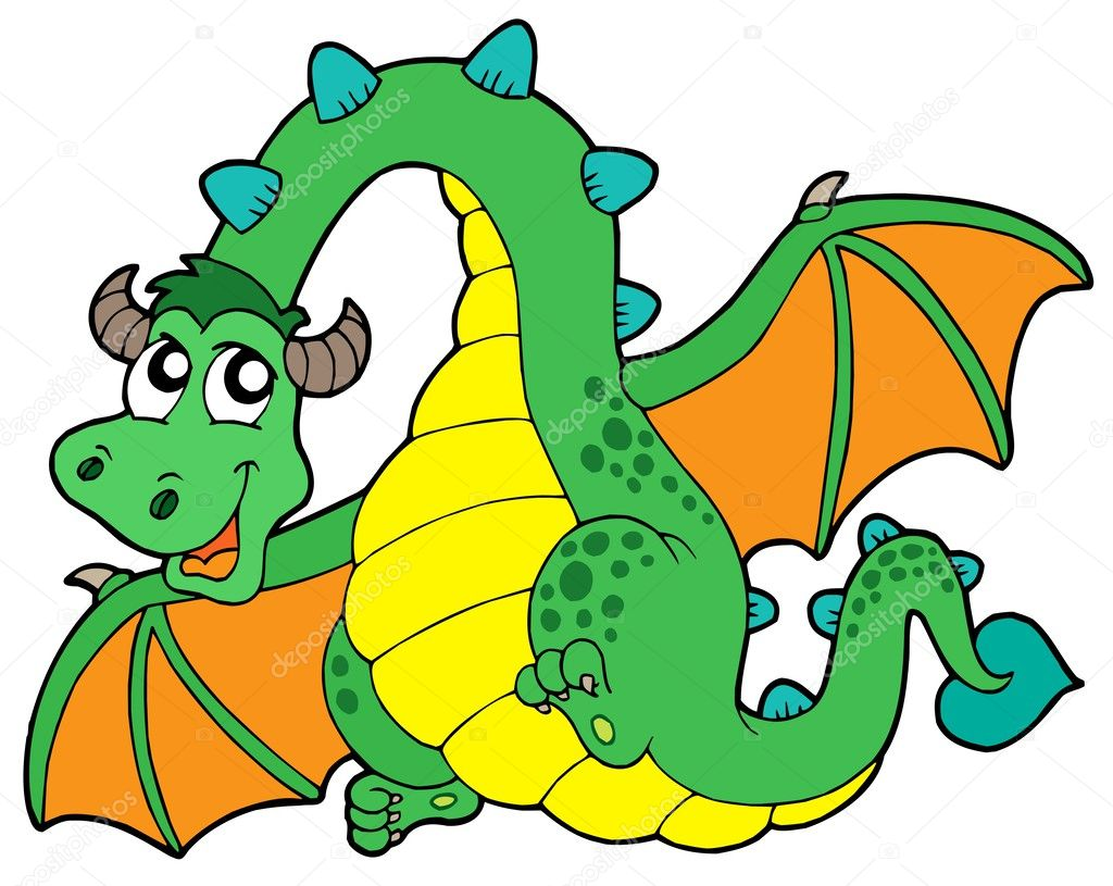 Flying green dragon - vector illustration. — Stock Vector #2201381