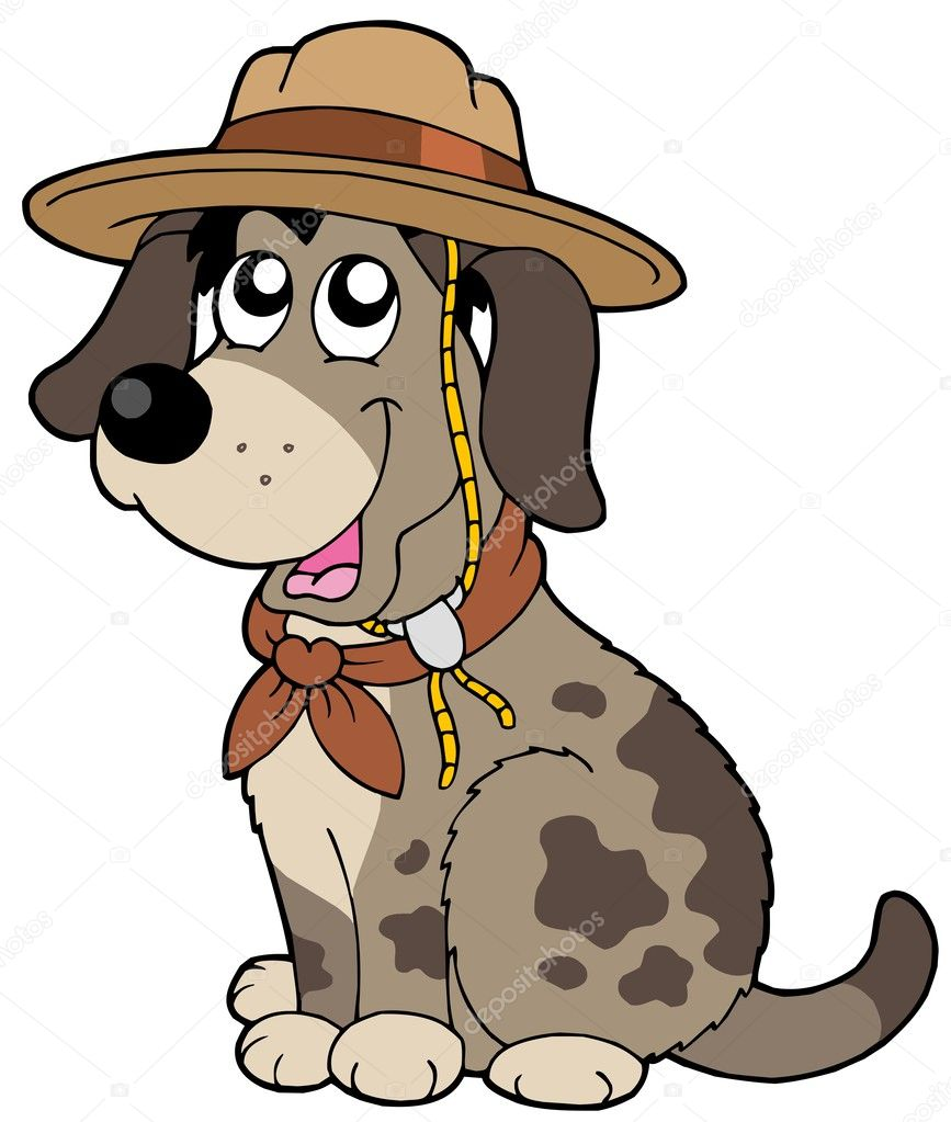Friendly dog in scout hat - vector illustration. — Stock Vector #2201482