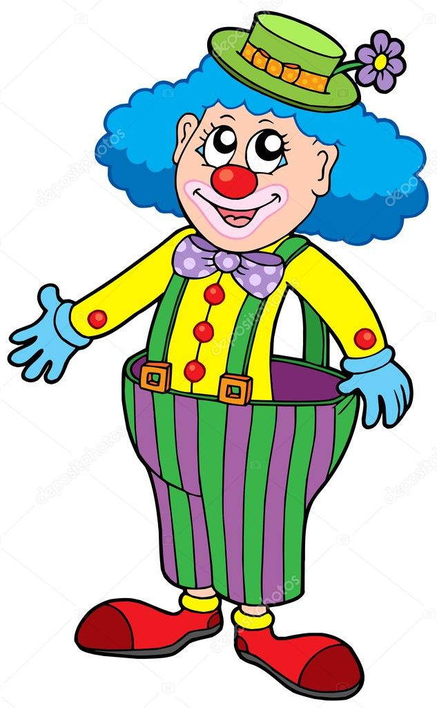 Funny clown in big pants — Stock Vector © clairev #2201563