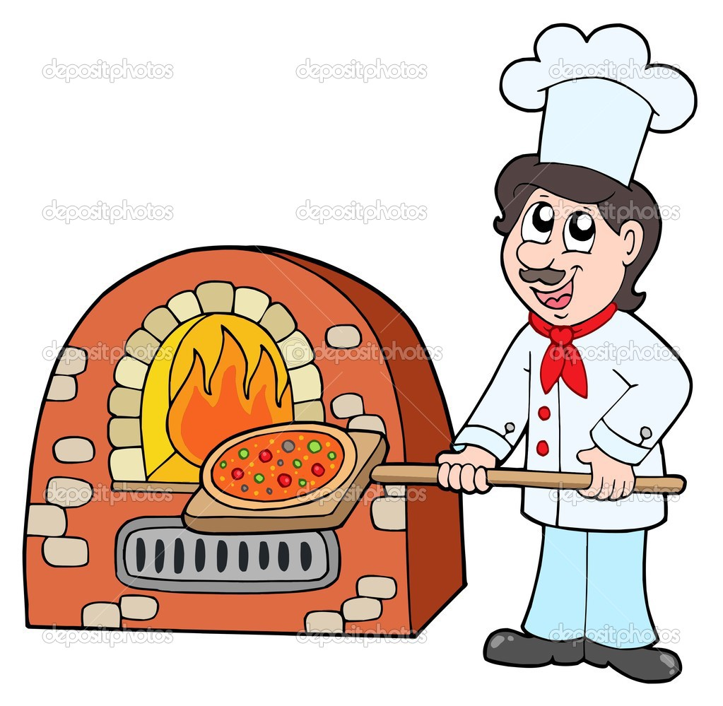 Pizza Chef Vector Chef Baking Pizza Vector