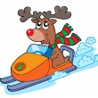 Stock Vector: Christmas reindeer riding scooter