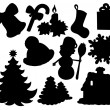 Christmas silhouette collection 02 — Stock Vector