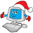 Royalty-Free Stock Vector Image: Christmas smiling computer