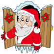 Christmas window with Santa Claus - Stock Vector