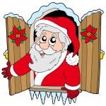 Christmas window with Santa Claus — Stock Vector