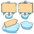 Royalty-Free Stock Vector Image: Icy wooden signs