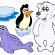 Stock Vector: Ice animals collection