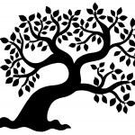 Leafy tree silhouette — Stock Vector