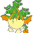 Royalty-Free Stock Vector Image: Little three headed dragon in egg