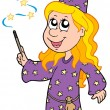 Royalty-Free Stock Imagem Vetorial: Little wizard girl