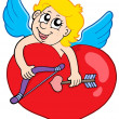 Stock Vector: Lovely cupid holding heart
