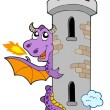 Lurking dragon with castle tower — Stock Vector
