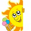 Stock Vector: Lurking Sun with icecream