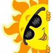 Lurking Sun with sunglasses — Imagen vectorial