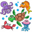 Stock Vector: Marine animals collection