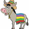 Mexican donkey with sombrero — Vector de stock