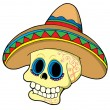 Stock Vector: Mexican skull in sombrero