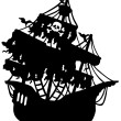 Mysterious pirate ship silhouette - Stock Vector