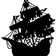 Mysterious ship silhouette - Stock Vector