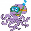 Octopus snorkel diver - Stock Vector