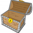 Open empty treasure chest — Vector de stock #2259414