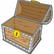 Stock Vector: Open empty treasure chest