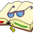 Open book with glasses — Imagen vectorial