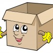 Open cute cardboard box — Stock Vector